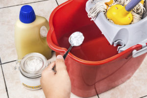 Add baking soda to floor cleaner for house cleaning